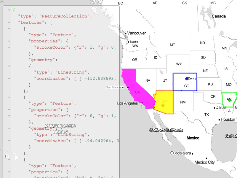 how to use geojson to get features from json file